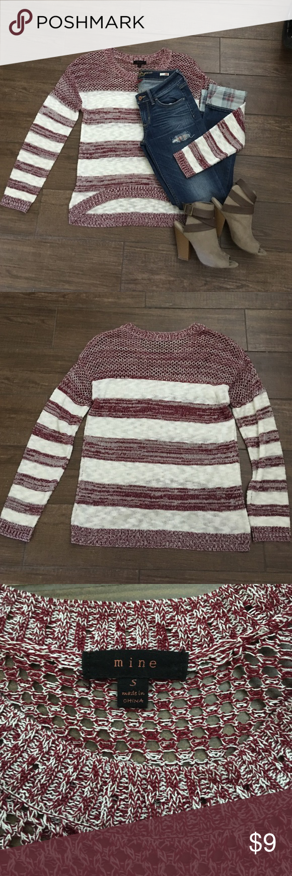 Mine maroon and white striped sweater small Brand Mine maroon and ...