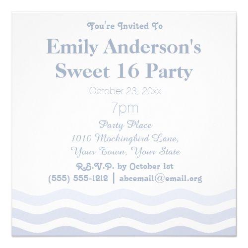 summer beach ombre blue waves sweet 16 birthday invitation beach