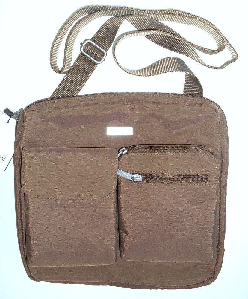 028bac35f0 BAGGALLINI New Canyon CROSS BODY Shoulder Bag Brown Front Cell Pocket Vegan  NWT  Baggallini  CrossBody
