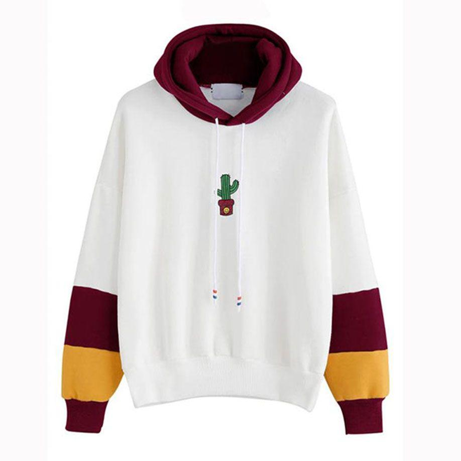 Fashion Hoodie Women Long Sleeve Cactus Print Hoodie Sweatshirt Hoody Pullover Tops Blouse Co In 2021 Contrast Sleeve Sweatshirt Sweatshirts Hoodie Printed Sweatshirts [ 918 x 918 Pixel ]
