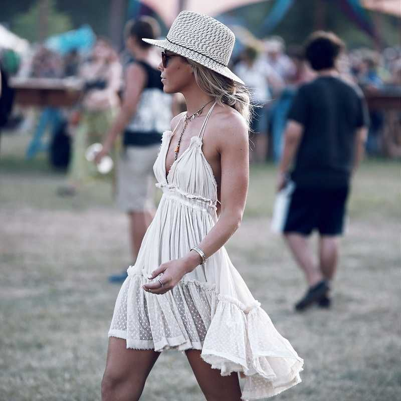 Adjustable Fit Dot Mesh Hem Halter Flowy Dress Open Backs Dresses Casual Boho Boho Chic Fashion Cute Summer Dresses