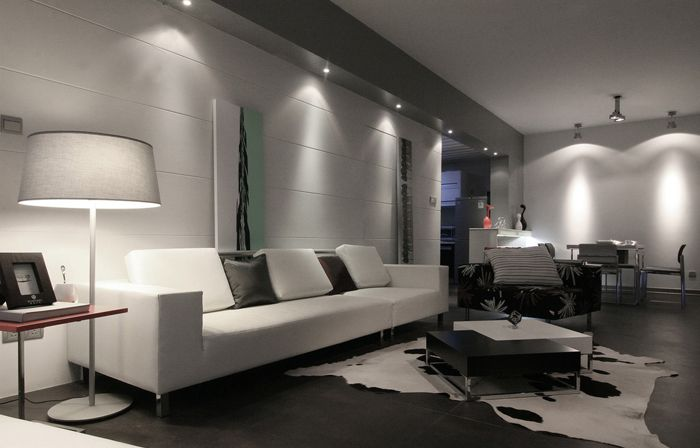 LED Spotlights In Cool White Used To Create A Bright Modern Living Area
