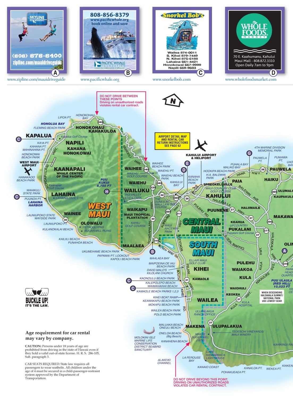 Maui Map Driving Guide With Images Maui Map Maui Makawao Maui