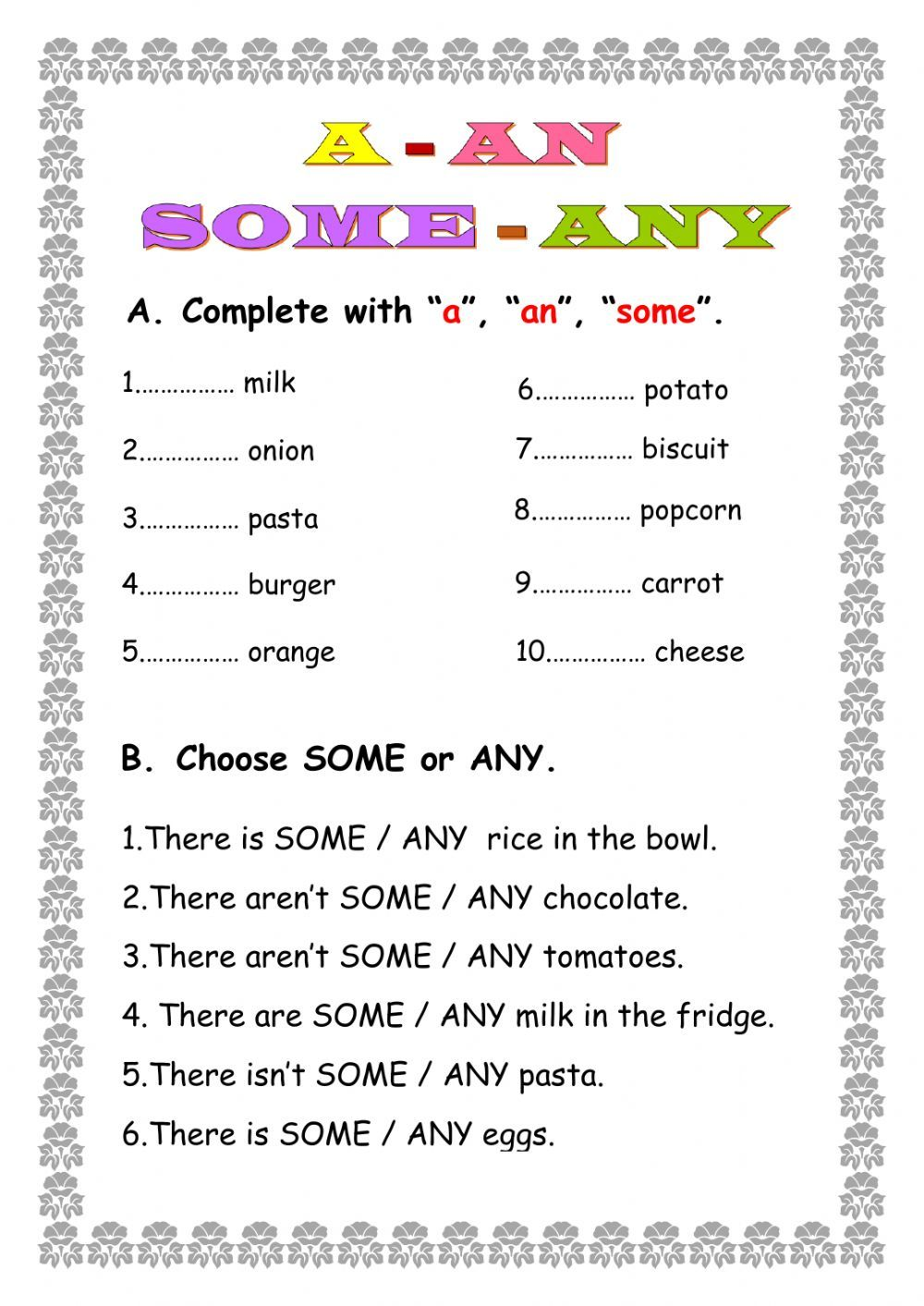 A An Some Any Interactive Worksheet Learn English Words Learning Worksheets 2nd Grade Worksheets [ 1413 x 1000 Pixel ]