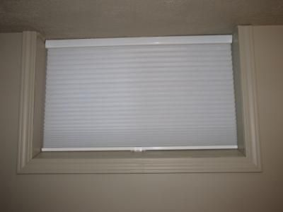 """Our customer said: """"Couldn't be happier with the cordless blinds in my basement re-do. They look so clean and fit perfectly. The perfect solution to basement windows in a 50 year old house."""""""