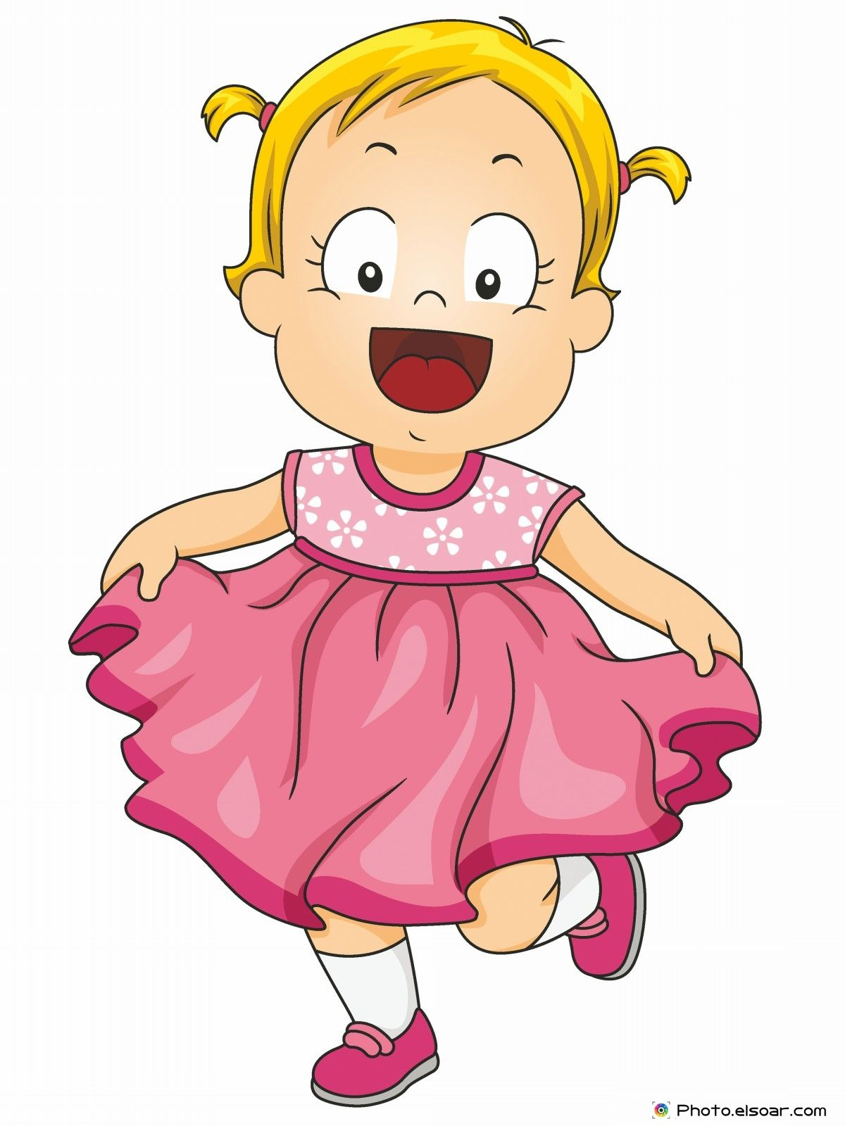 smiling little girl wearing a pink frilly dress kids