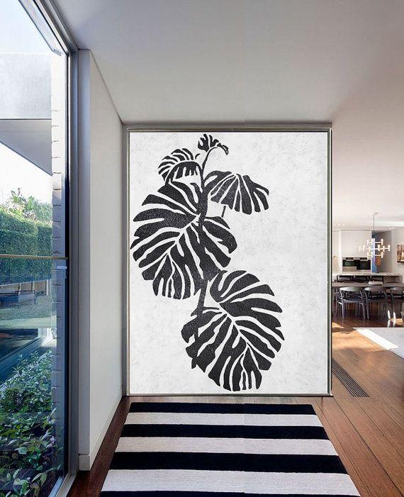 Large Abstract Painting On Canvas, Minimalist Canvas Art, Handmade Black  White Leaves, Acrylic