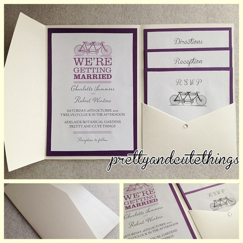 IVORY CREAM VINTAGE WEDDING INVITATIONS DIY POCKET FOLD ENVELOPES ...