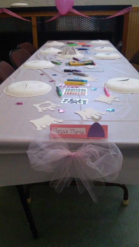 Tiana's tiaras. make your own crown station for princess Aubrey's 3rd birthday party