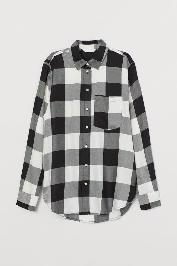 Plaid Shirt Black White Checked Ladies H M Us Camisa De Cuadros Ropa De Adolecentes Camisas