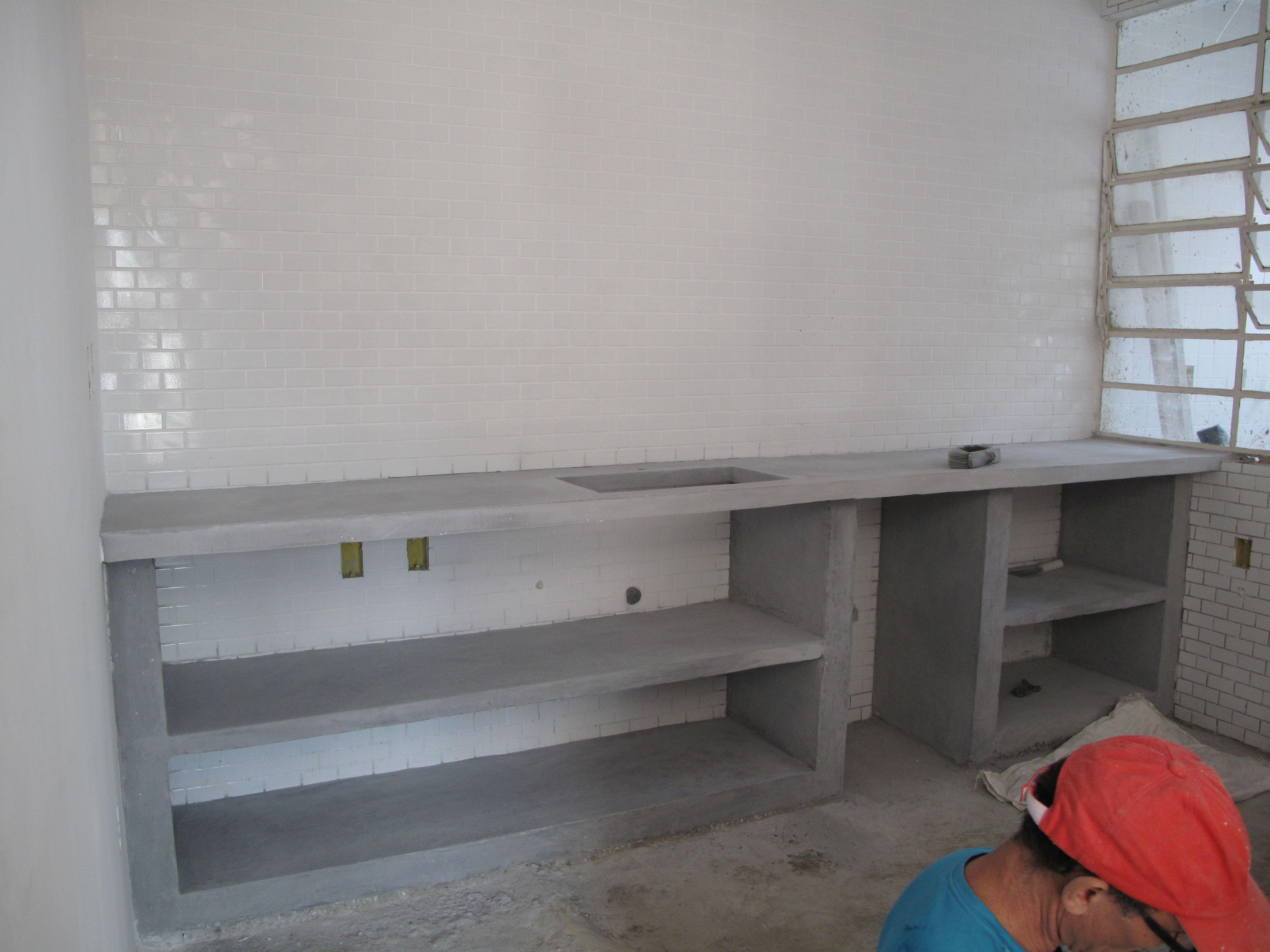 Obras bancada cozinha em concreto ap azevedo for Cocinas integrales de cemento