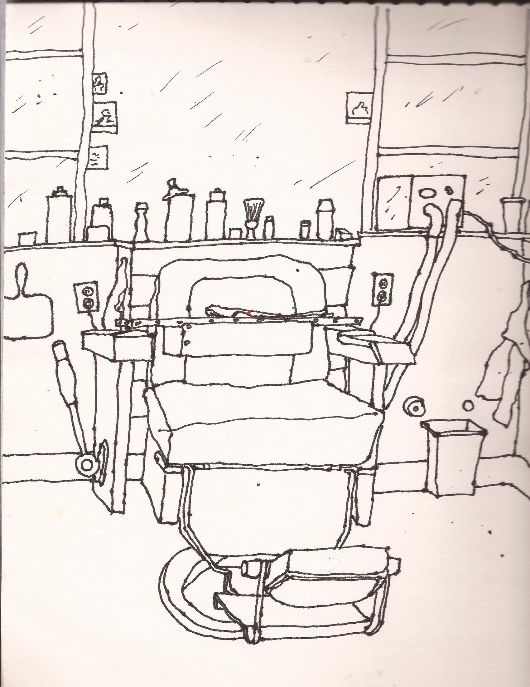 Barber chair line drawing line drawing drawings artwork
