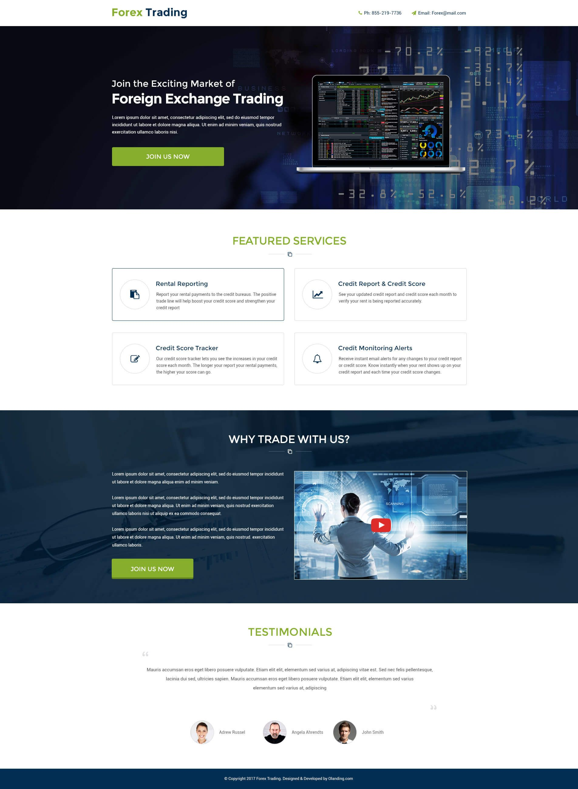 Lead Gen Responsive Forex Trading Landing Page Design Templates To