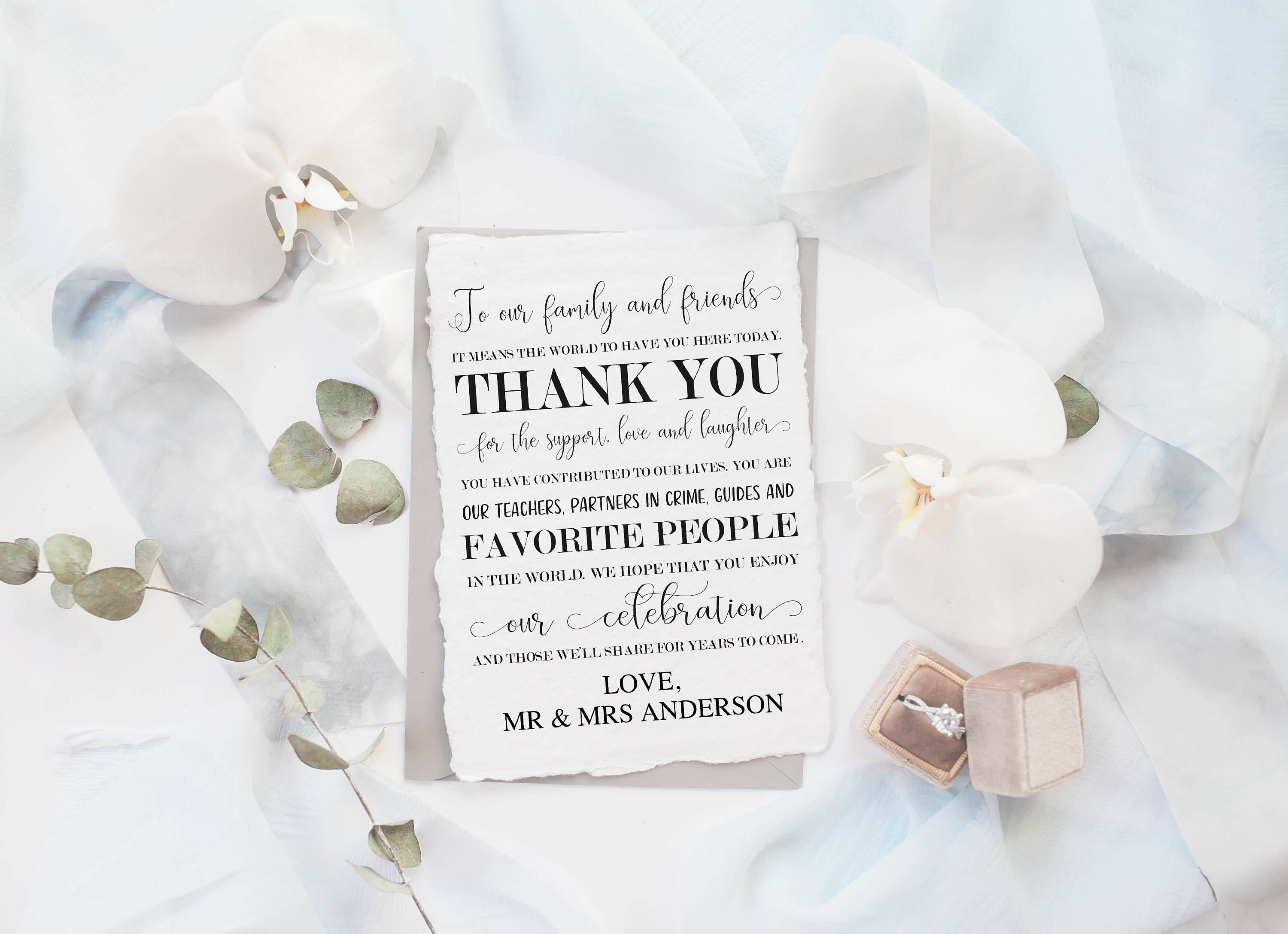 Wedding thank you note template, edit to add your names- instant ...