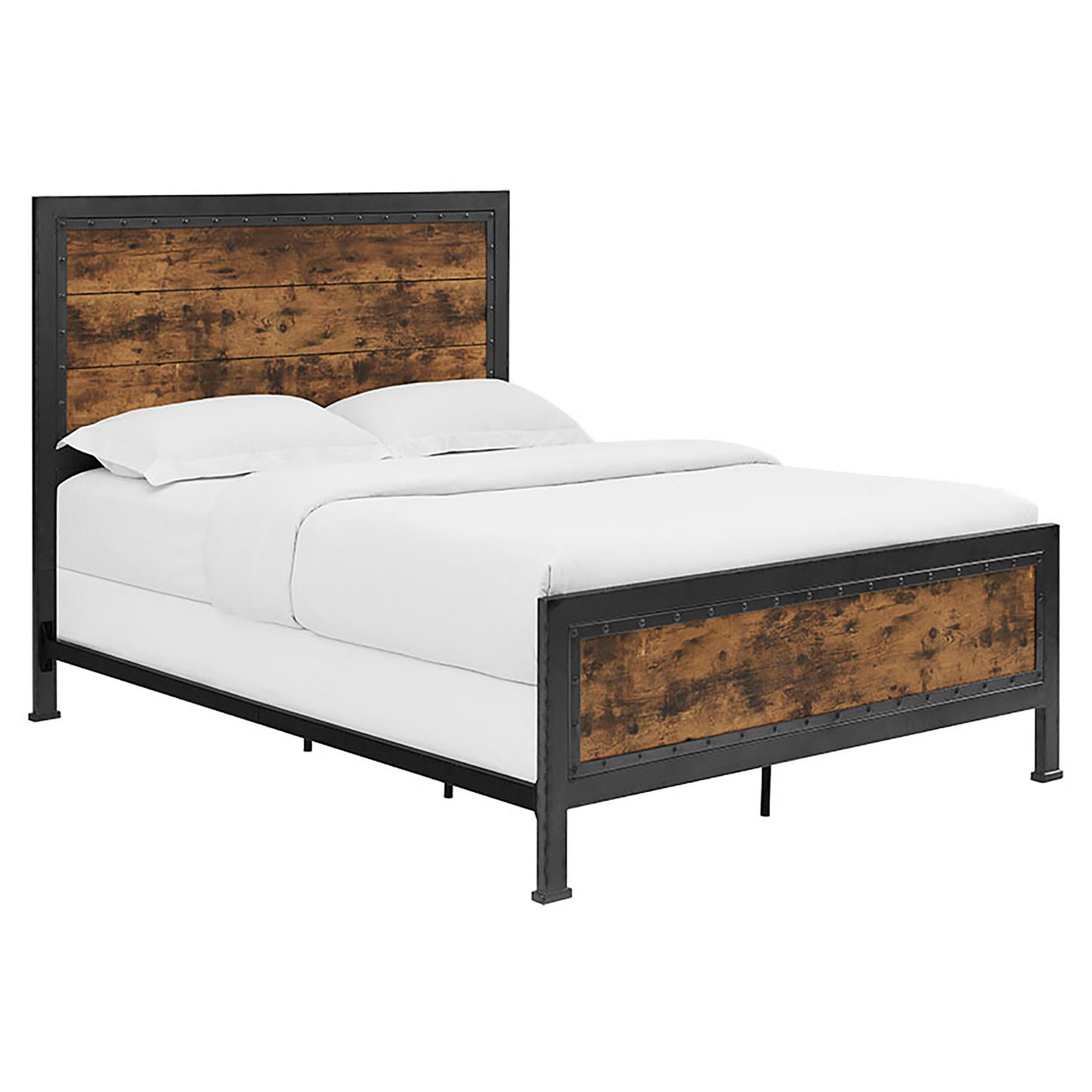Queen Size Industrial Wood And Metal Bed Brown Saracina Home