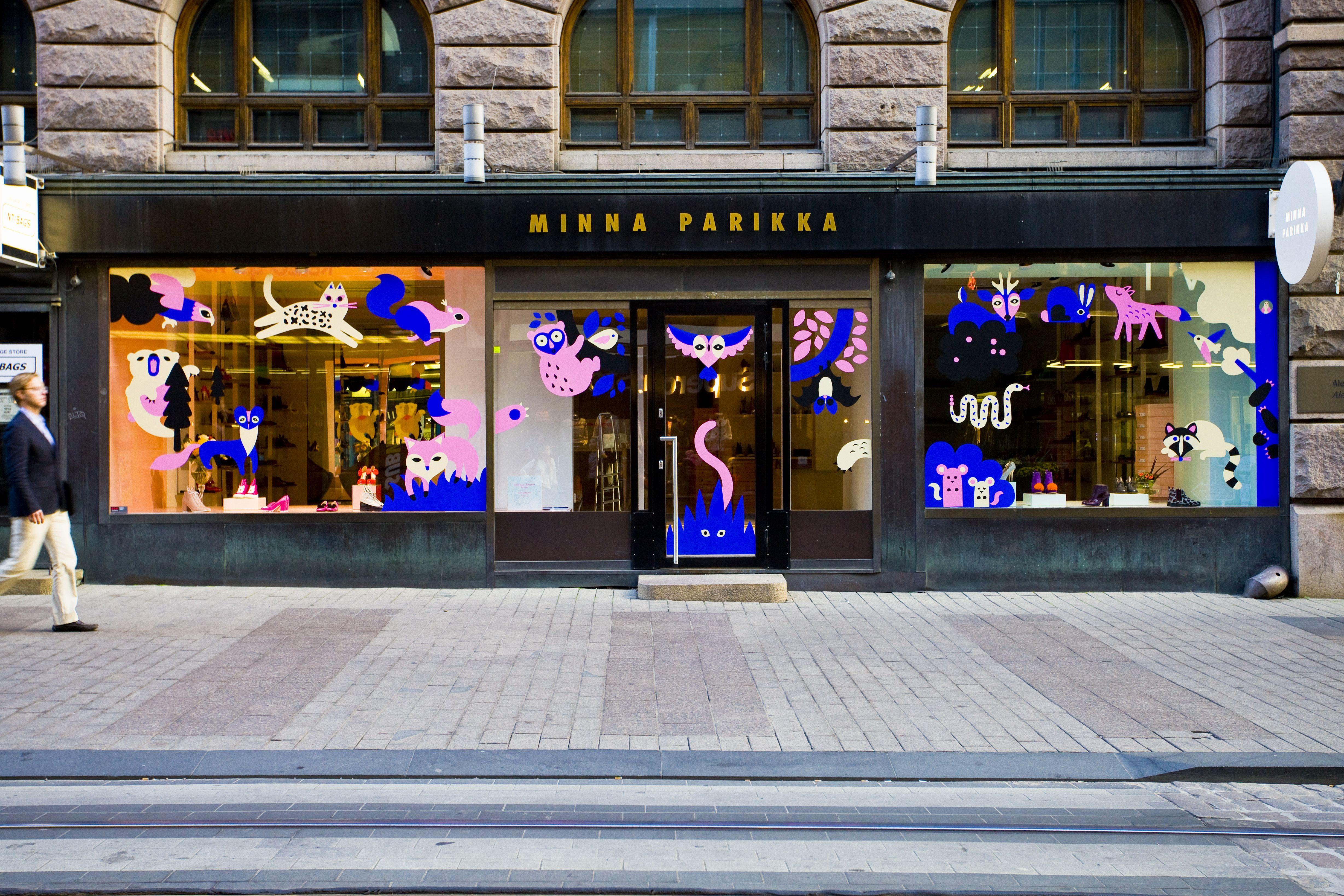 The Catch by Leena Kisonen & Krista Kärki for Minna Parikka #helsinkidesignweek #illustration #windowdisplay #leenakisonen #kristakarki