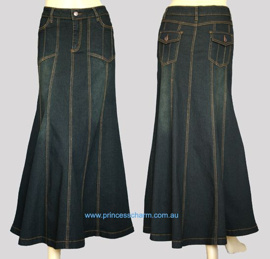 Black Denim Skirt Long - Dress Ala