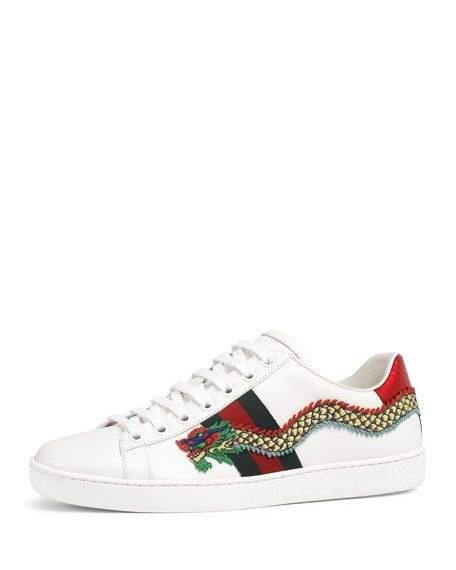 daf2a8298e4 GUCCI NEW ACE SNAKE-EMBROIDERED SNEAKER