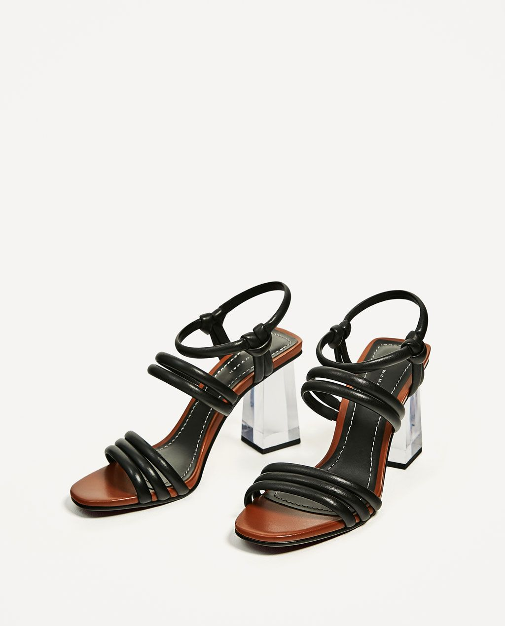 d8aa37741c9d LEATHER SANDALS WITH METHACRYLATE HEEL-View all-SHOES-WOMAN