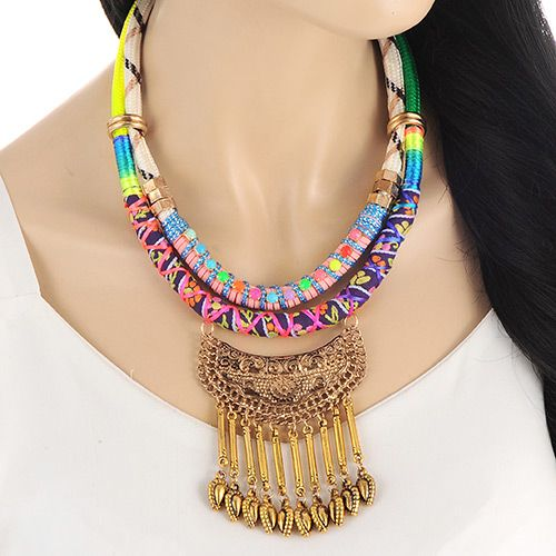 Multicolored Colored Rope Boho Princess Necklace