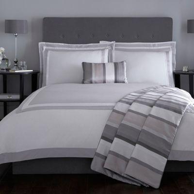 J by Jasper Conran Grey and white 'Langham' bed linen- | Debenhams