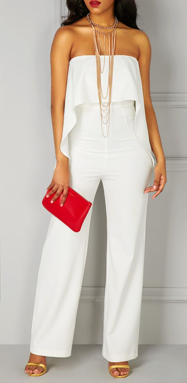 0dc885a52e04 High Waist Ruffle Overlay Strapless All White Jumpsuit