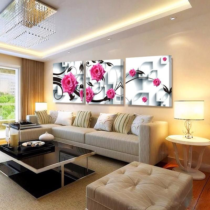3d Pink Rose Flower Home Decor Wall Art Canvas Prints For Living Room With Stretched Frame Meuble Design Salon Marocain Meuble