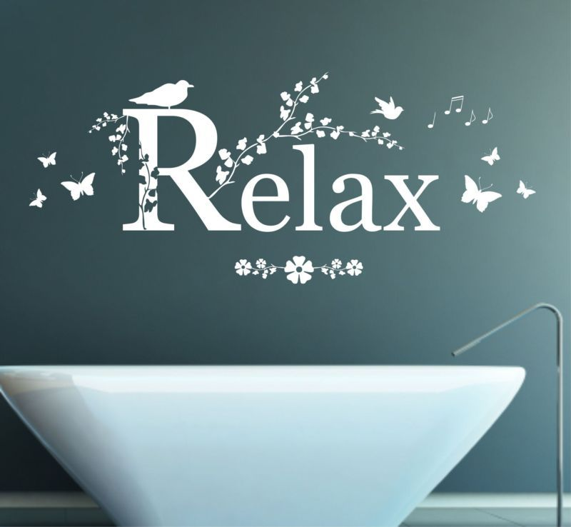 Relax quote decal mural wall art sticker bedroom bathroom lounge