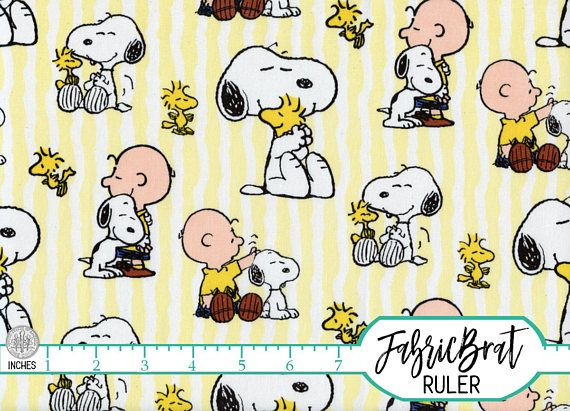 SNOOPY STRIPE Fabric by the Yard, Fat Quarter Snoopy Fabric Peanuts ...