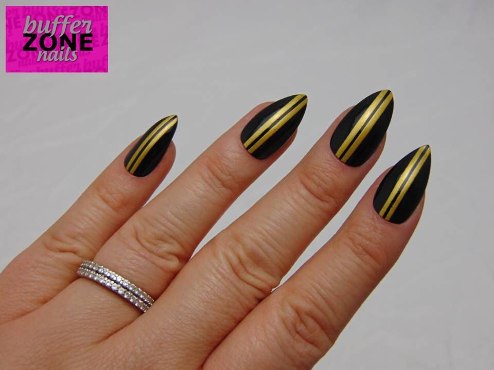 Hand Painted Press On False Nails, Black with Gold Stripes, Stiletto ...