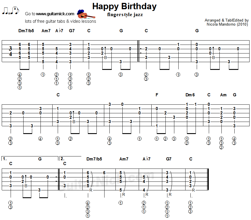 Happy Birthday - fingerstyle jazz guitar tab | гитара | Pinterest ...