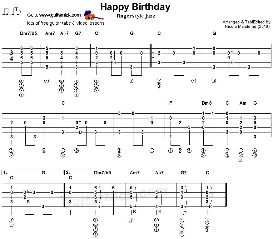 Partition Guitare Happy Birthday