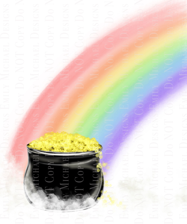 End Of Rainbow Png Pot Of Gold Png Digital Artwork Digital Etsy Hand Art Drawing Rainbow Png Rainbow Drawing