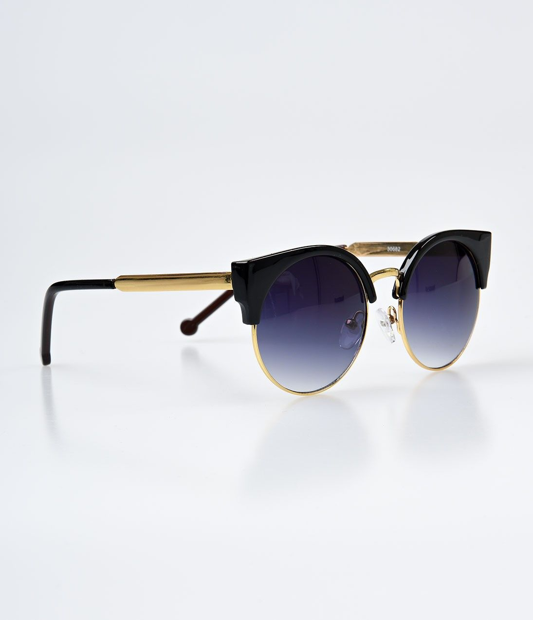 Black & Gold Metal Rounded Gradient Cat Eye Sunglasses