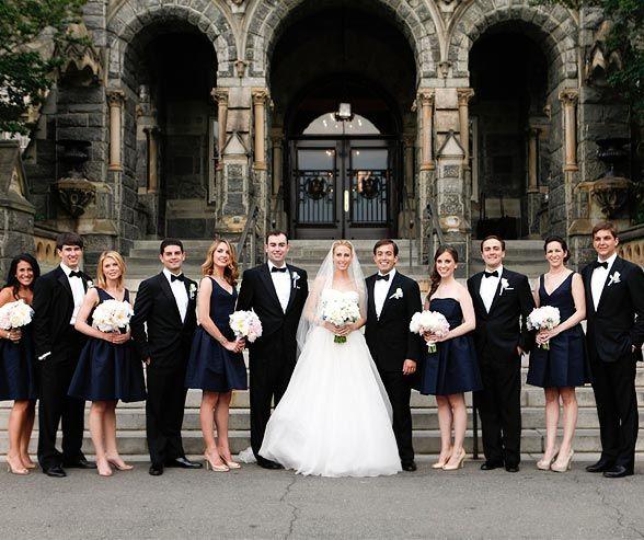 Real Wedding Washington D C Georgetown Formal Corcoran Gallery Of Art Colin Cowie Weddings Navy Bridesmaid Dresses Black White Wedding Black Wedding
