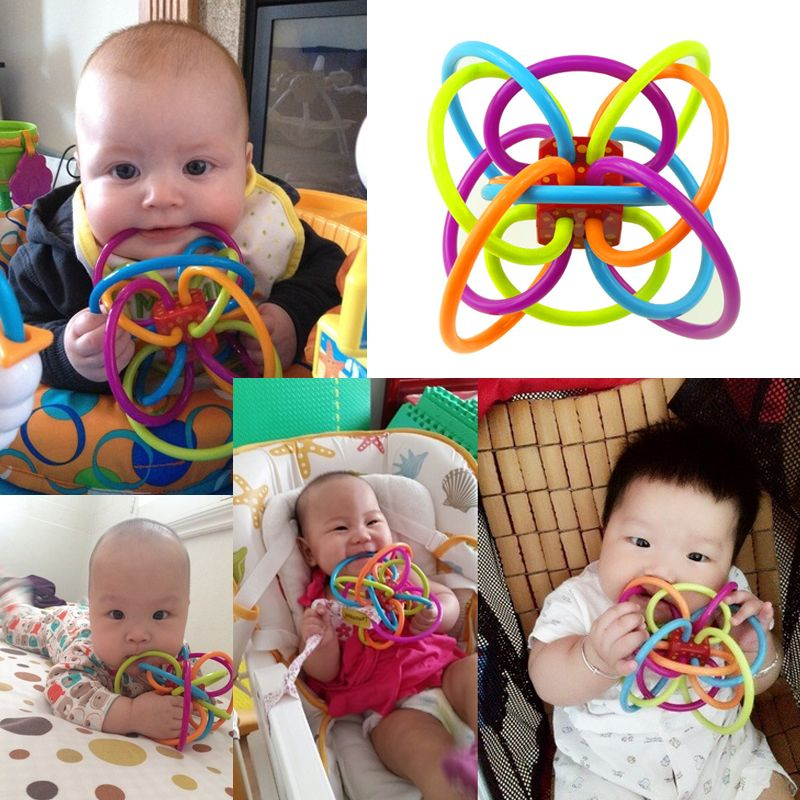 Baby Teether Toys Safety Silicone Biting Teething Balls Ring Fun Rattle for Baby