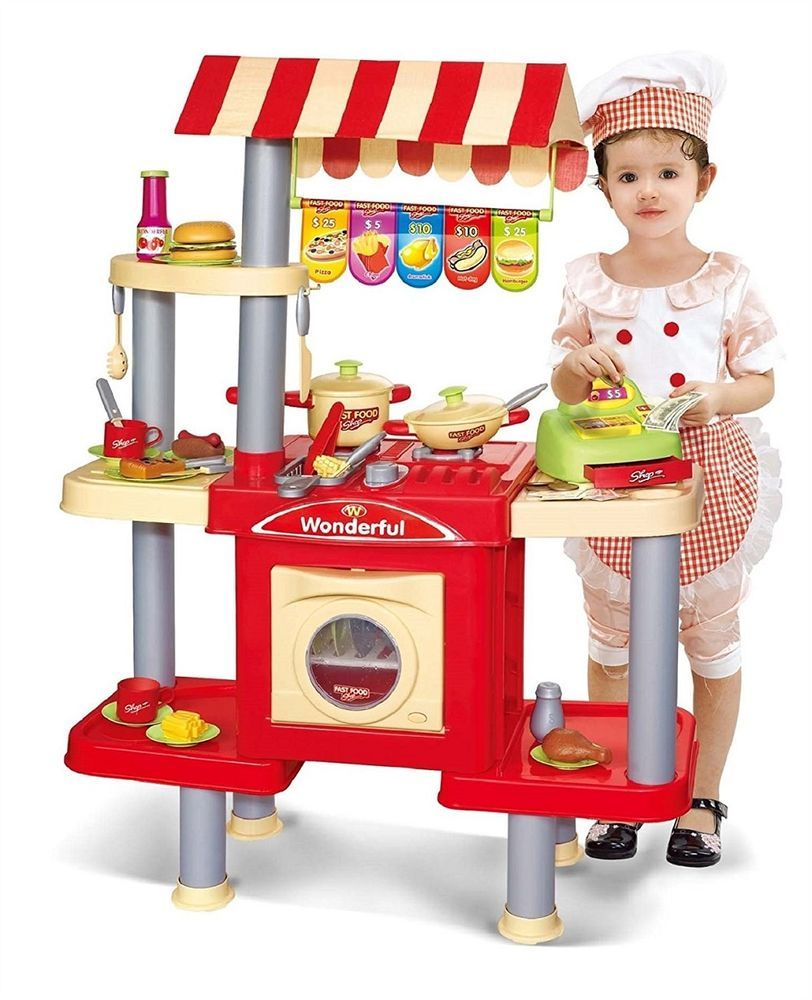 Kids Girls Kitchen Toy Pretend Play Role Cooking Set