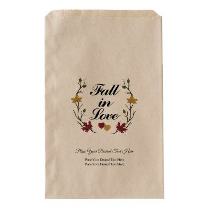 Fall In Love Autumn Wedding Snack Treat Favor Bags | Zazzle.com