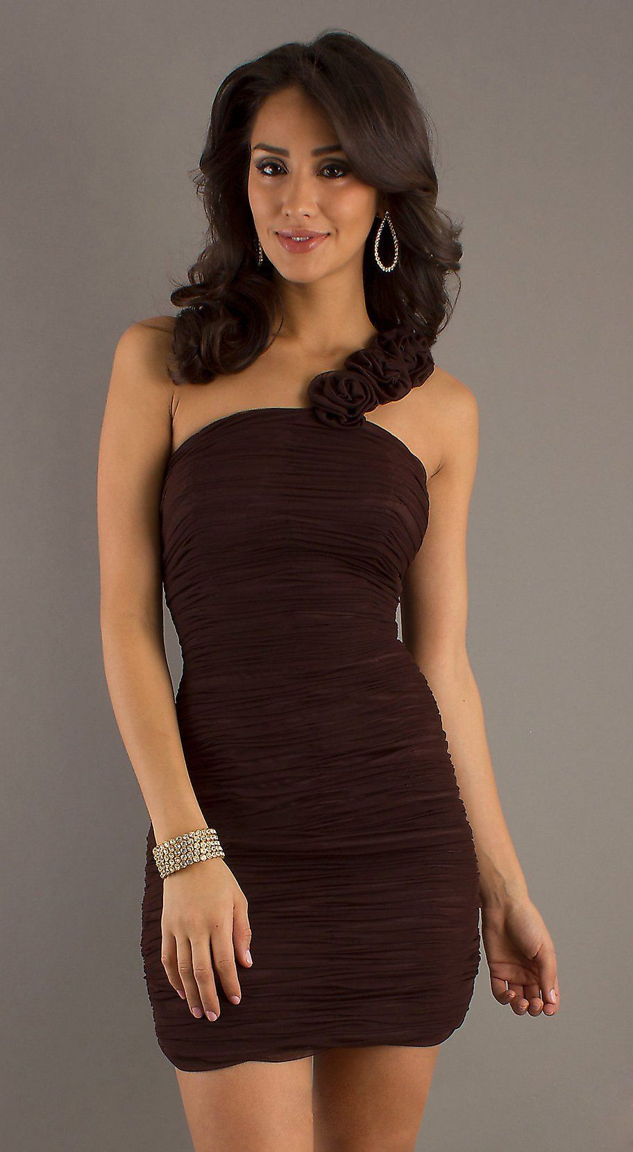 Sexy Short Black Cocktail Dress Ruched One Shoulder W/Flowers $93.99 ...