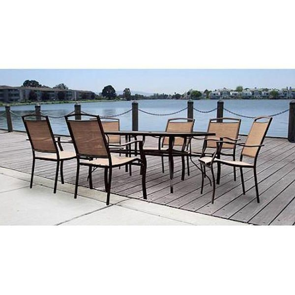 7 Piece Patio Dining Set Outdoor Furniture Garden Glass Table Chairs BBQ New #Mainstays