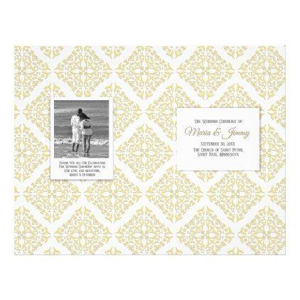 Gold Filigree Wedding Program Flyer  Traditional Gift Idea Diy
