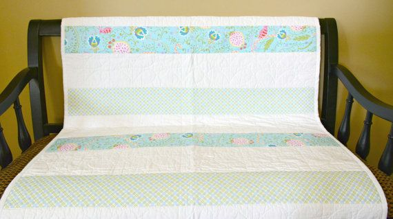 Modern Baby Quilt: Toddler Quilt Baby Girl by SewChicQuiltBoutique
