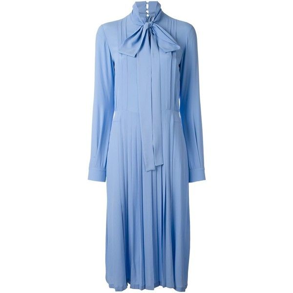 Nº21 pleated pussybow shirt dress (£1,440) ❤ liked on Polyvore featuring dresses, blue, pleated shirt dress, blue shirt dress, blue dress, bow neck dress and long shirt dress