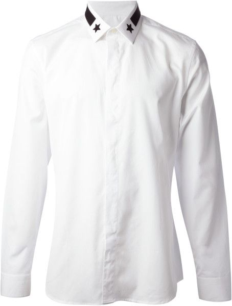 bbd643dcf Men's White Star Collar Shirt | fashion | Shirts, Collar shirts ...