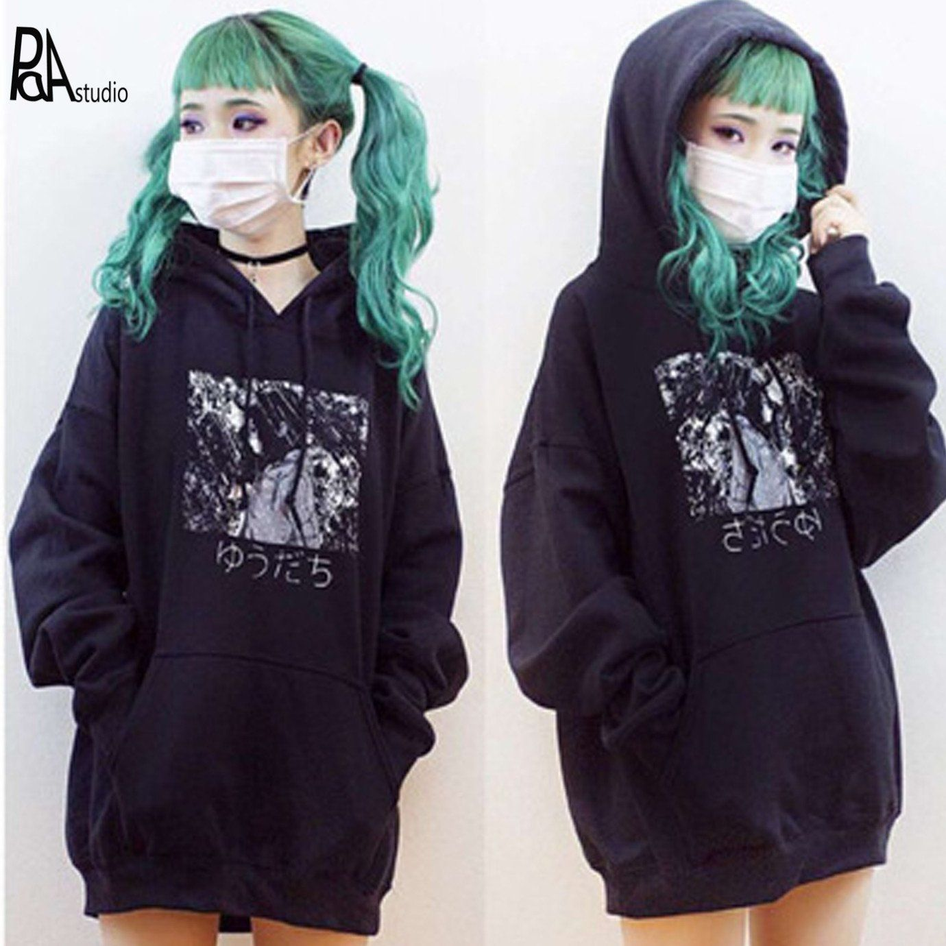 Japan Manga Anime Japanese Letter Cartoon Print Hooded Sweatshirts Tendencies Sweater Black Logo Pullover Hitam Xl Harajuku Goth Femme Men Jumper Hoodies Fleece Top