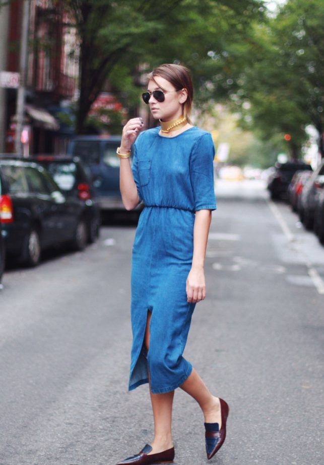 5. Chambray Dress With Pointy Loafers 2017 Street Style
