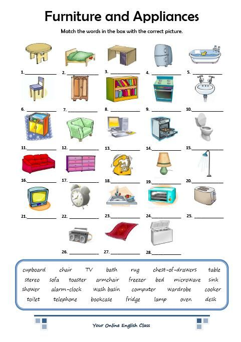 furniture and appliances vocabulary pinterest worksheets english and english activities. Black Bedroom Furniture Sets. Home Design Ideas