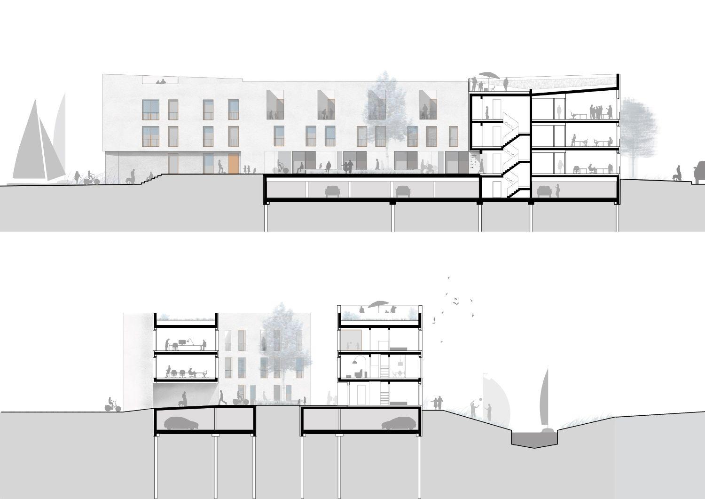 1. Preis: Schnitte mit Ansichten Innenhof, © Praeger Richter Architekten
