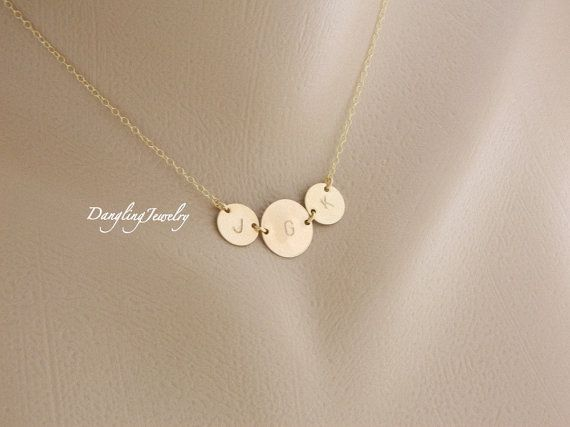 4de32f72f0 THREE Initial Necklace, Monogram Necklace, Initial Jewelry, Personalized  Mothers Children Necklace, Mother Daughter, Mothers Jewelry on Etsy, $40.00