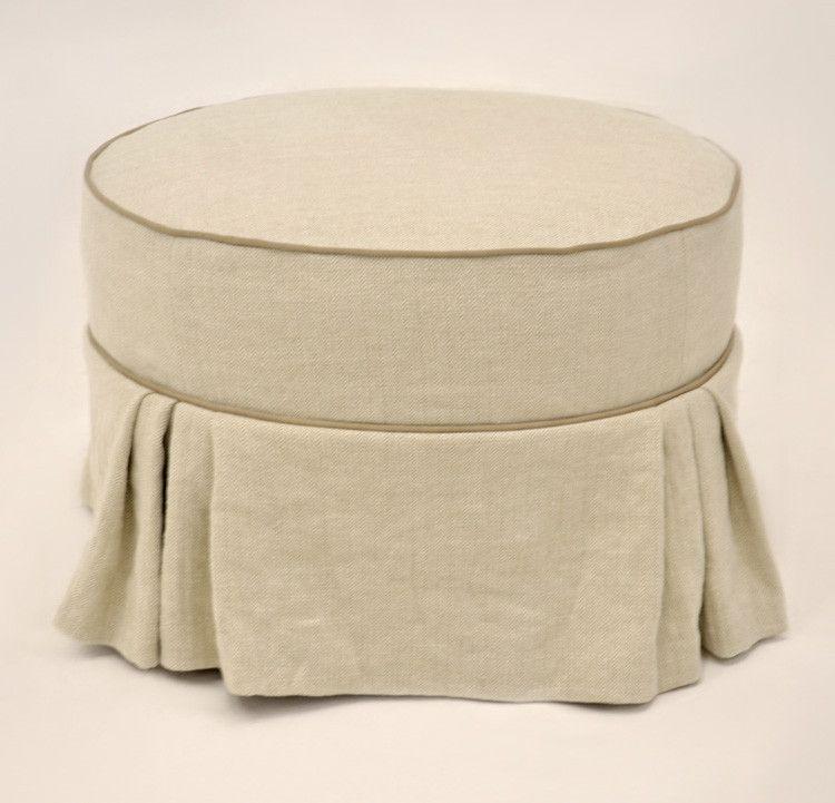 Quatrine Custom Furniture Skirted Round Ottoman With Pleats